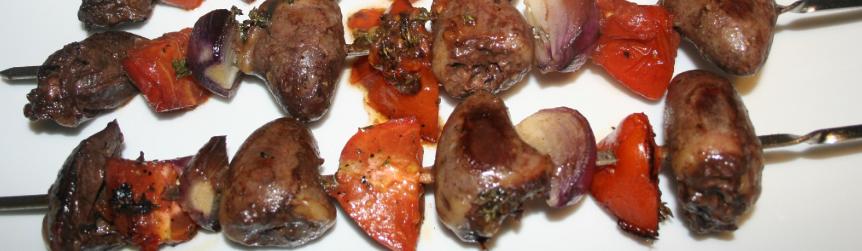 Brochette de cœurs de canard au barbecue